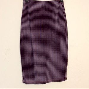 Topshop Gingham Check Tube Skirt